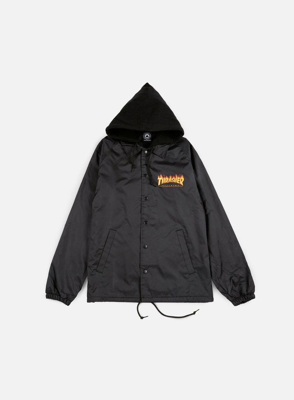 Thrasher - Flame Hoodie Coach Jacket, Black