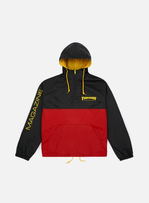 giacche thrasher mag logo anorak jacket black red
