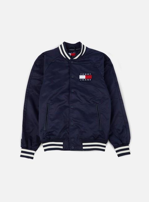 giacche tommy hilfiger tj 90s satin bomber jacket navy blazer