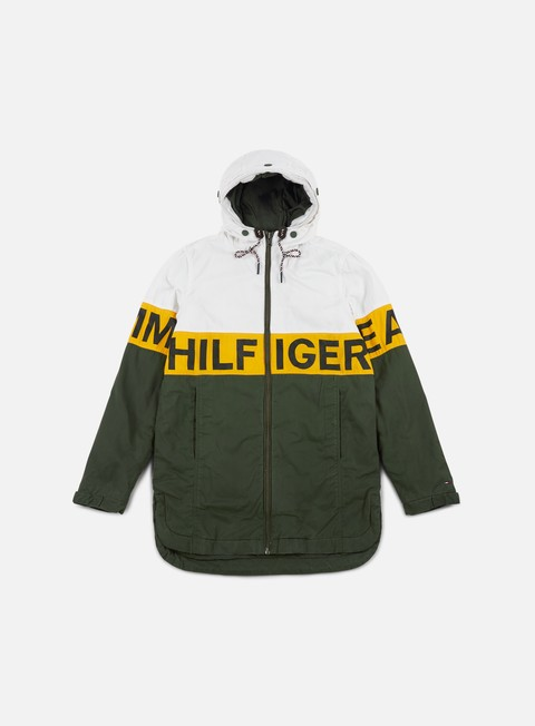 giacche tommy hilfiger tj logo hooded coat thyme multi