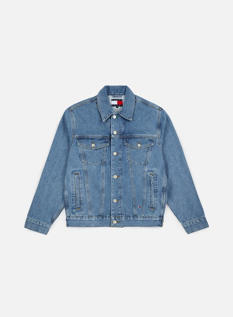 giacche tommy hilfiger wmns tj 90s logo denim jacket mid blue denim