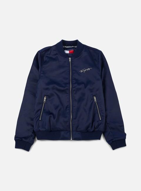 giacche tommy hilfiger wmns tj 90s satin bomber jacket navy blazer