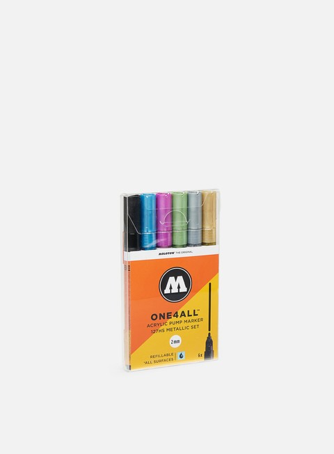 marker molotow one4all 127 hs metallic set 6 pz