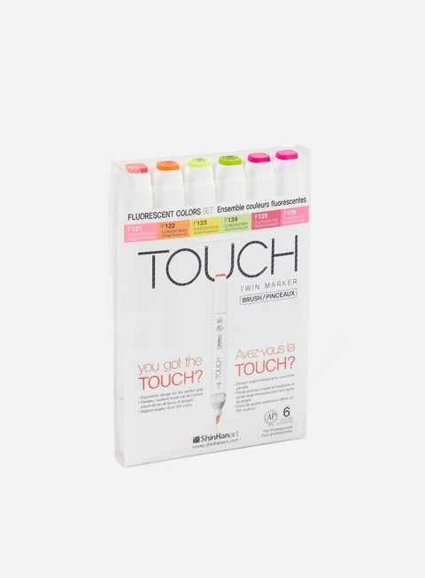 marker touch brush twin set 6 pz fluo