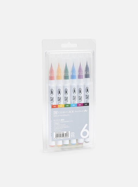 Marker per Sketch & Design Zig Clean Color Real Brush 6 pz
