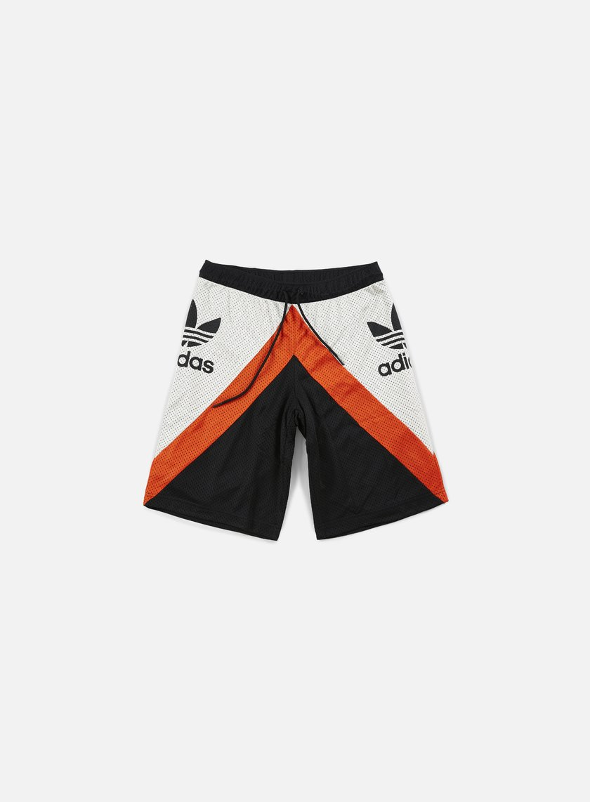 Adidas Originals - Basketball Shorts, Black/Talc/Collegiate Orange