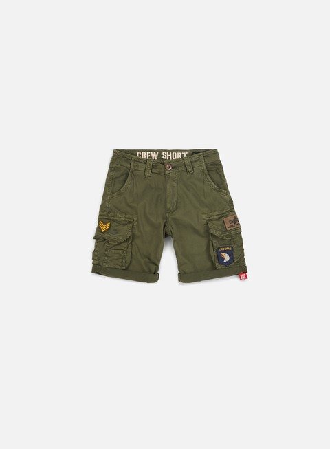 pantaloni alpha industries patch crew short dark olive
