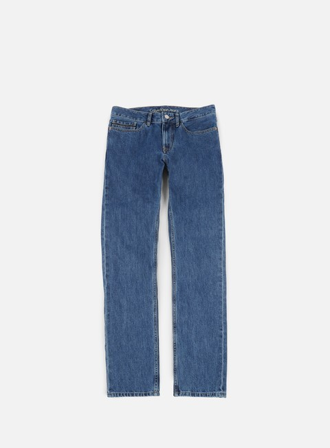 pantaloni calvin klein jeans slim straight pant christiane blue rigid