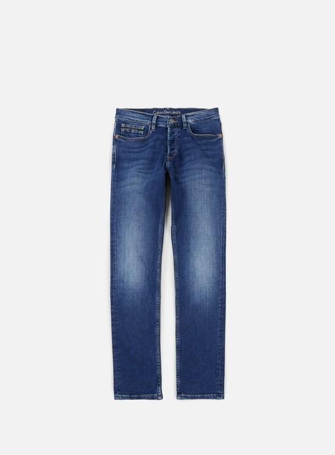 pantaloni calvin klein jeans straight taper pant true mid blue