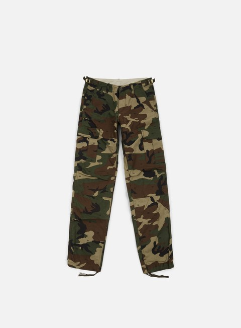 pantaloni carhartt aviation pant ripstop camo green 313 rinsed