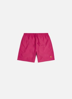 Carhartt - Chase Swim Trunks, Ruby Pink/Gold