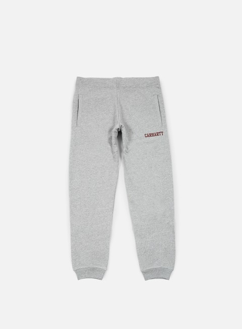 pantaloni carhartt college sweat pant grey heather cordovan
