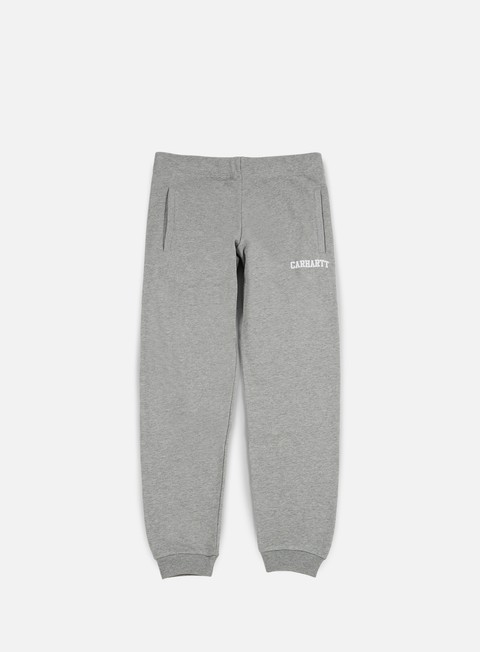 pantaloni carhartt college sweat pant grey heather white