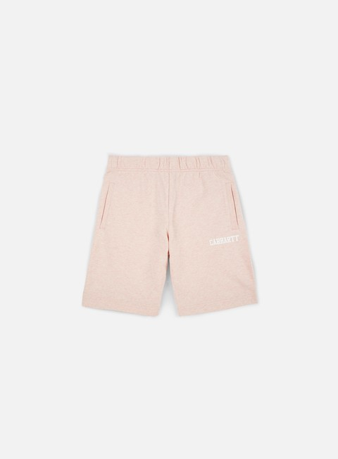 pantaloni carhartt college sweat short sandy rose heather white