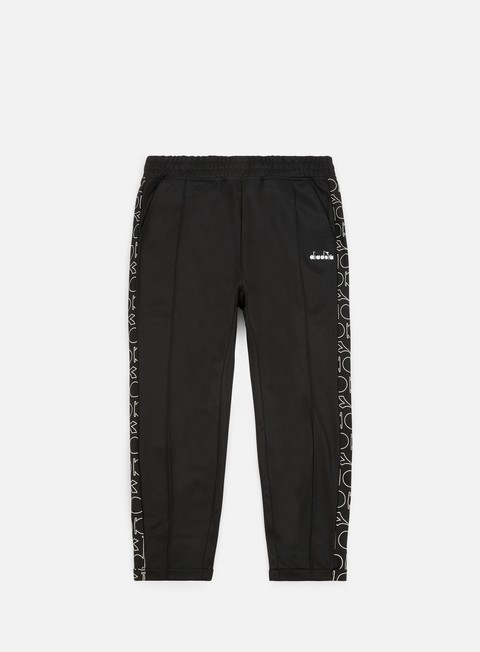 pantaloni diadora 80s bold pant black white bold logo