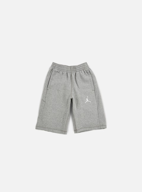 pantaloni jordan flight fleece short dark grey heather white