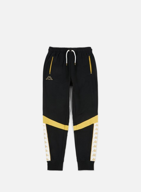 pantaloni kappa band afuly sport pants black yellow gold