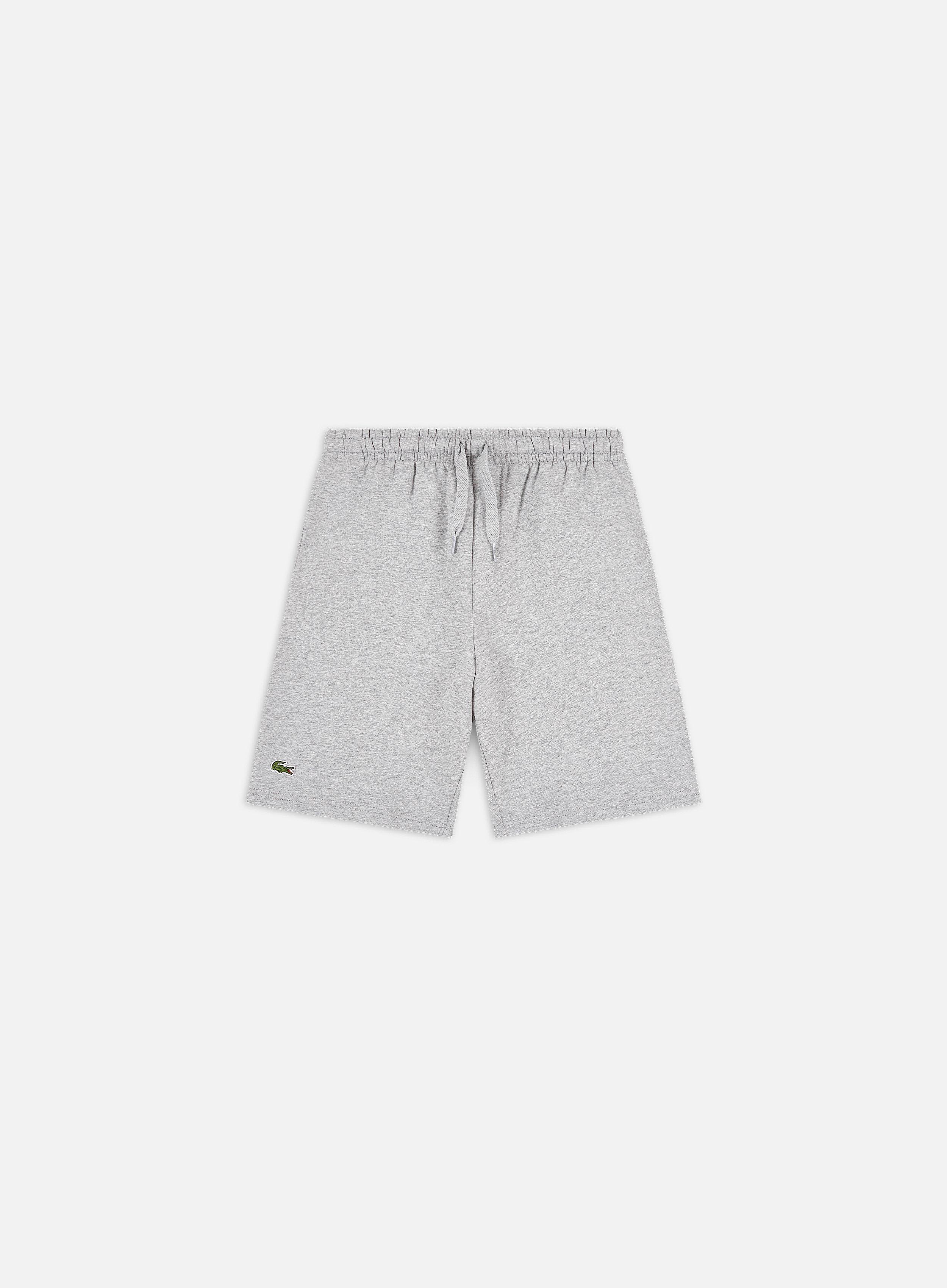 Grey soft cotton blend Lacoste Rear Pocket Fleece Shorts in Silver Chine