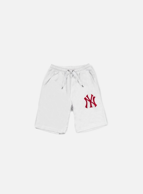 pantaloni majestic desta fleece short ny yankees white