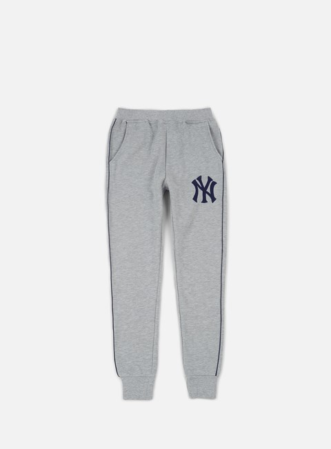 pantaloni majestic fleece piping jogger pant ny yankees heather grey