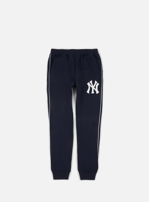 pantaloni majestic fleece piping jogger pant ny yankees navy
