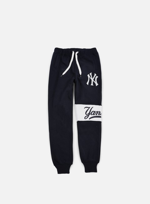 pantaloni majestic tilted fashion wrap font jogger ny yankees navy