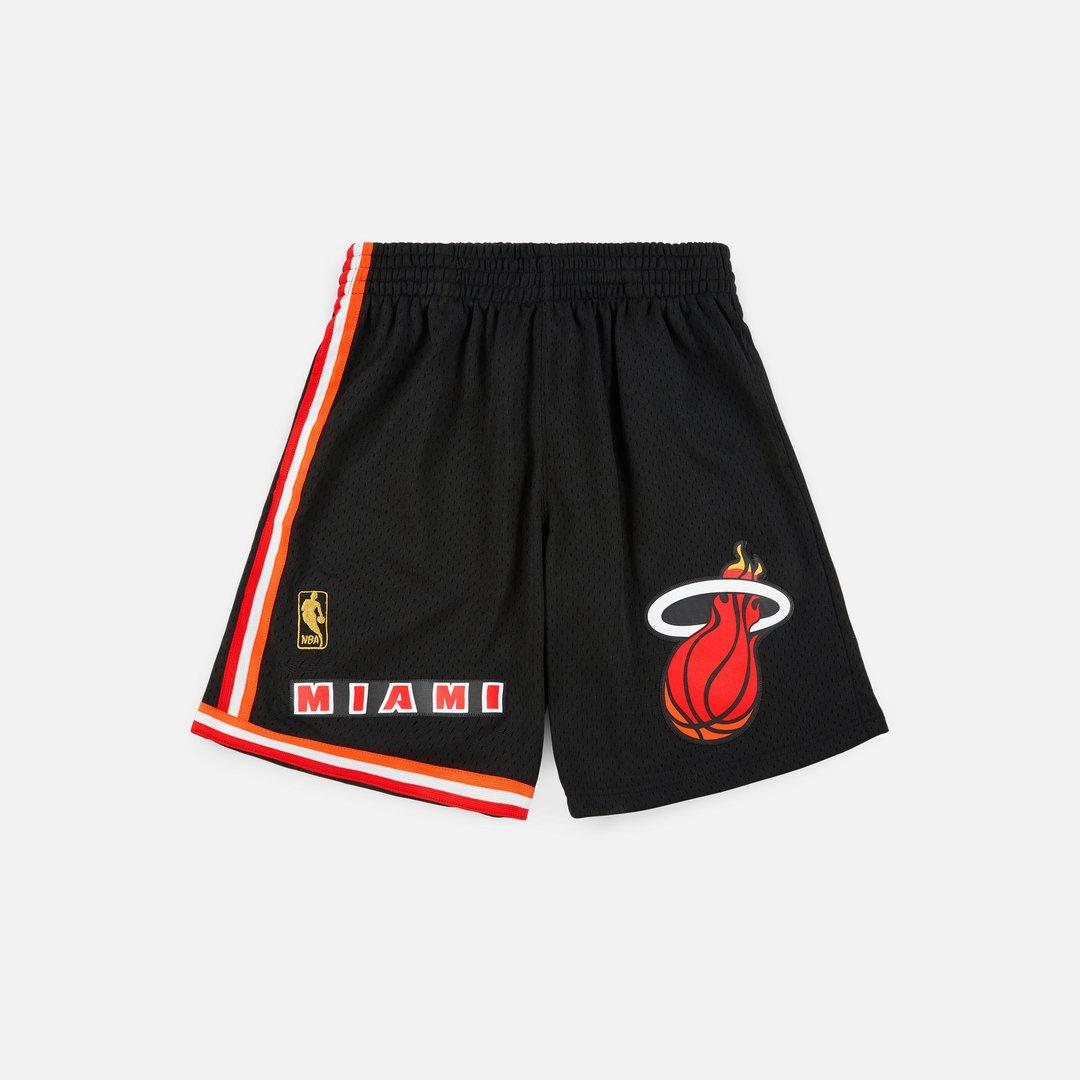 Retro Herren Miami Heat Stitched Basketball Swingman Shorts Sports S-2XL