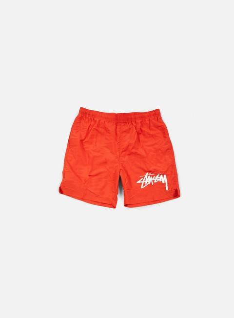 pantaloni stussy stock elastic waist trunk red
