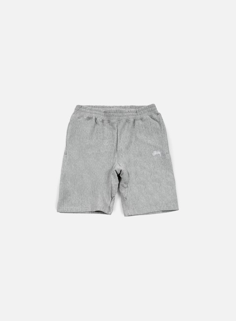 pantaloni stussy stock fleece short grey heather