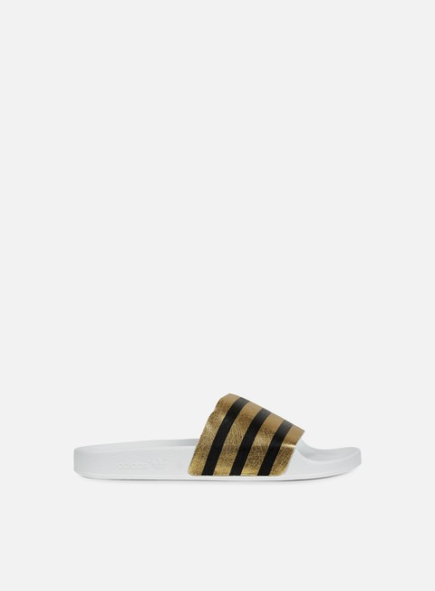 sneakers adidas originals adilette slides gold metal white white