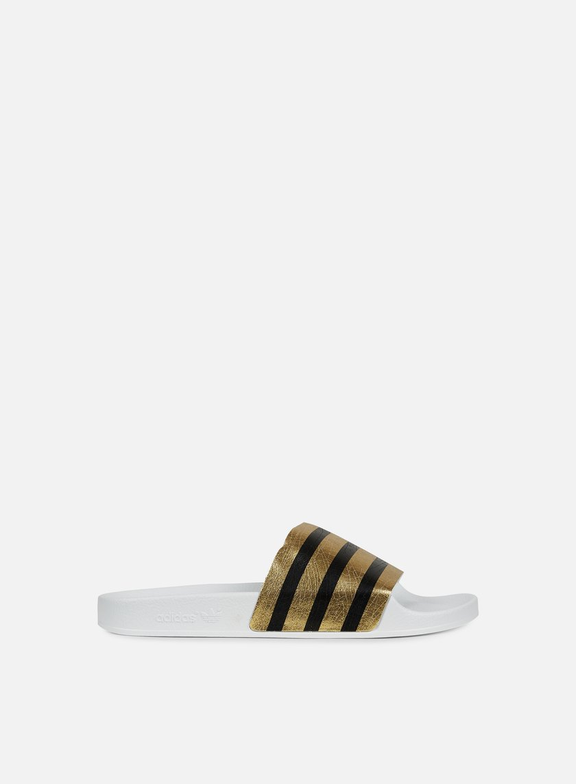 Adidas Originals - Adilette Slides, Gold Metal/White/White