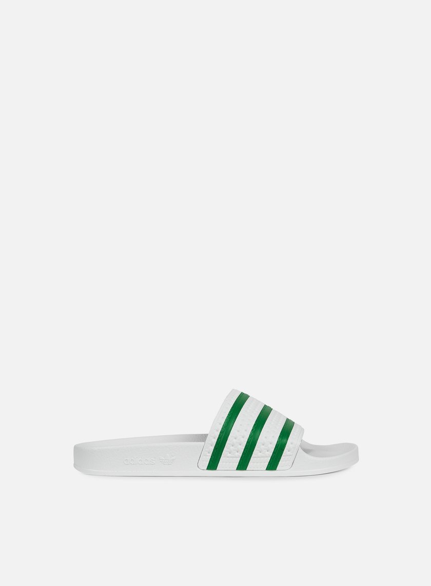 Adidas Originals - Adilette Slides, White/Green/White