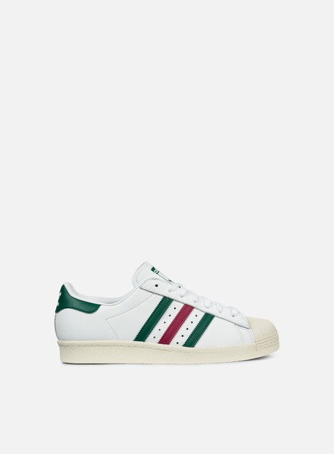 sneakers adidas originals superstar 80s white colleciate green mystery ruby