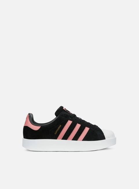 sneakers adidas originals wmns superstar bold core black ash pink white