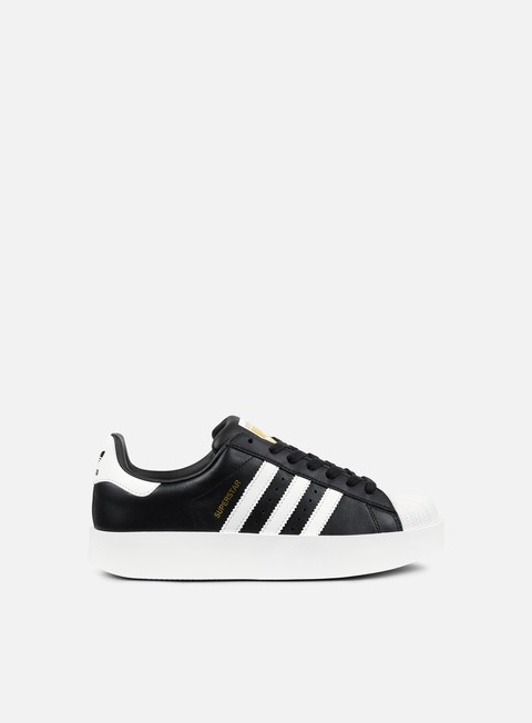 sneakers adidas originals wmns superstar bold core black footwear white gold metallic