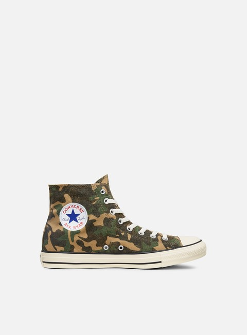 sneakers converse all star hi canvas graphics fatigue green chocolate