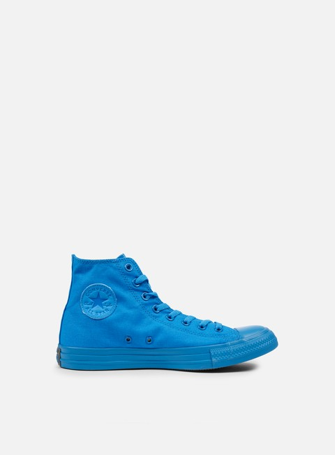 sneakers converse all star hi canvas spray paint blue monochrome