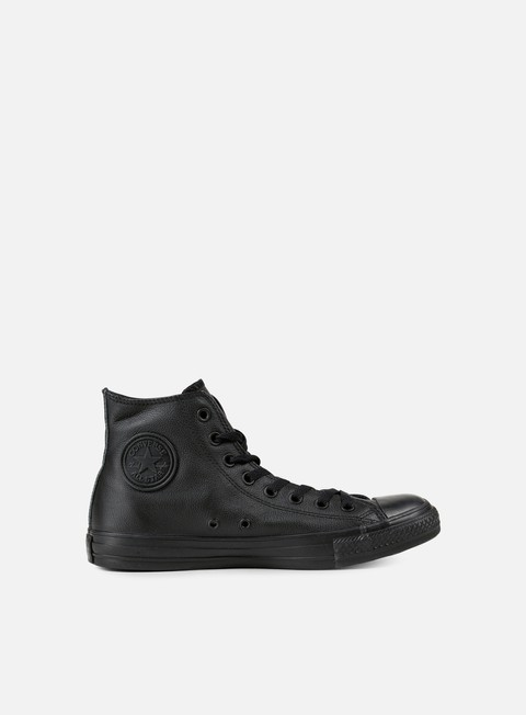 sneakers converse all star hi leather black monochrome