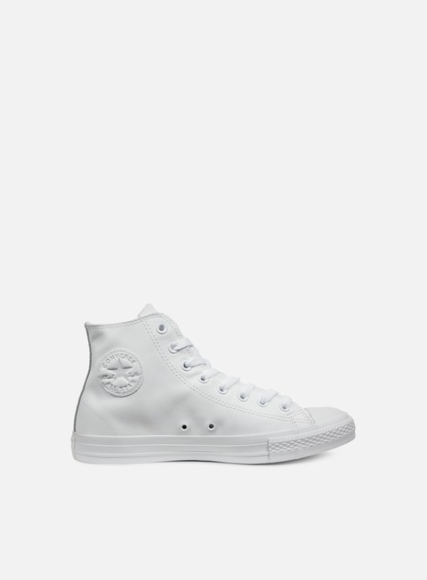 sneakers converse all star hi leather white monochrome