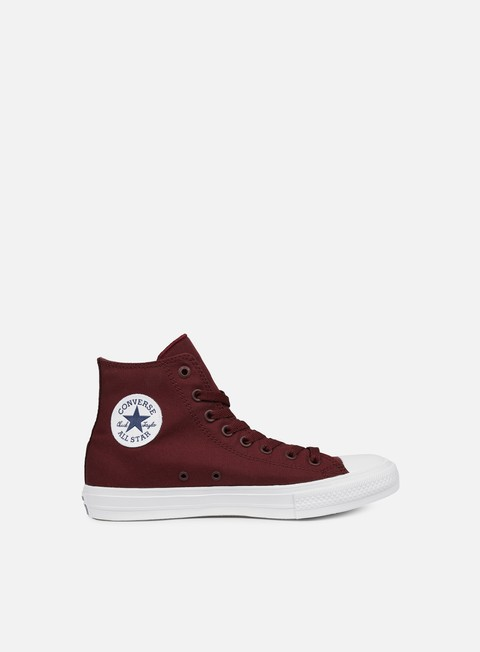 sneakers converse all star ii hi tencel canvas deep bordeaux white