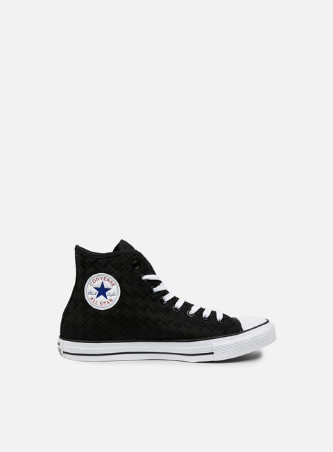 sneakers converse all star premium hi canvas woven black black white