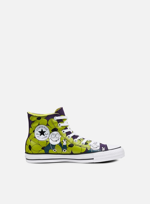 sneakers converse all star pro hi eggplant peel yellow white