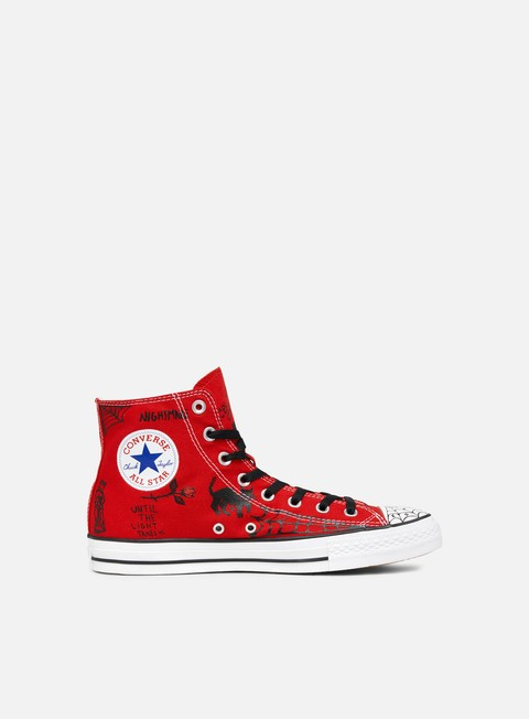 sneakers converse all star pro hi enamel red black white