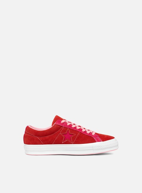 sneakers converse one star ox enamel red pink pop
