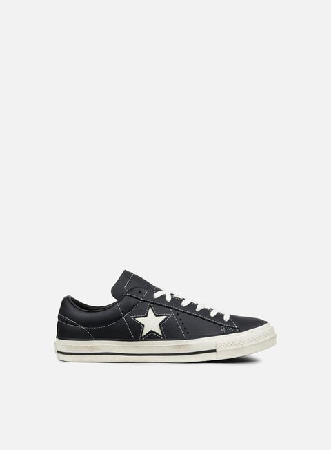 sneakers converse one star ox leather distressed black white egret