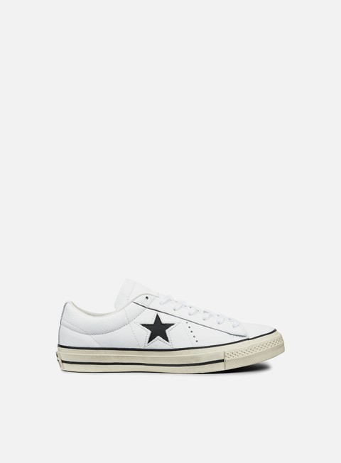 sneakers converse one star ox leather distressed white black egret