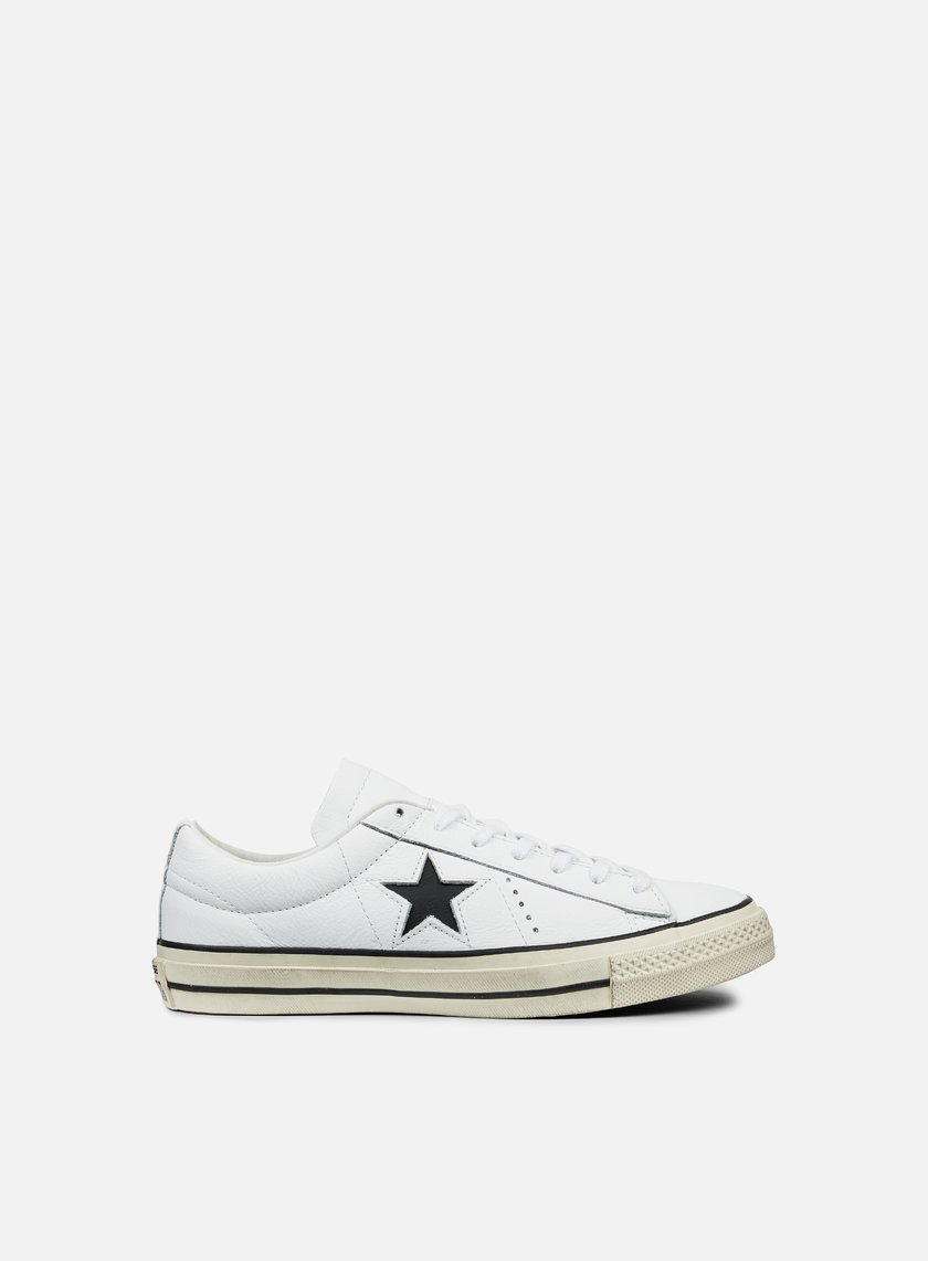 Converse - One Star Ox Leather Distressed, White/Black/Egret