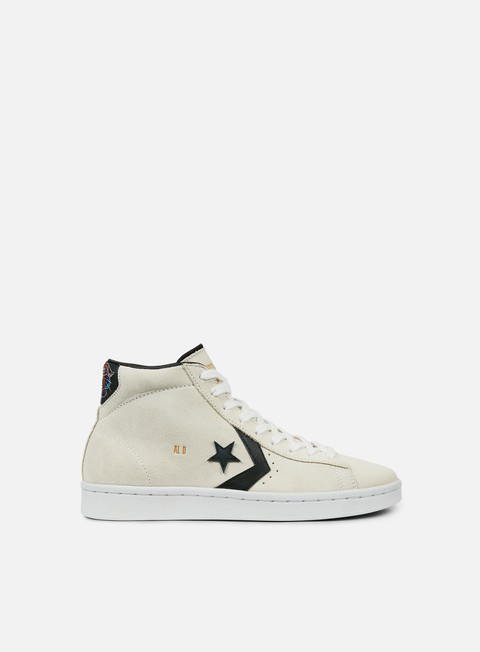 sneakers converse pro leather mid white black gold