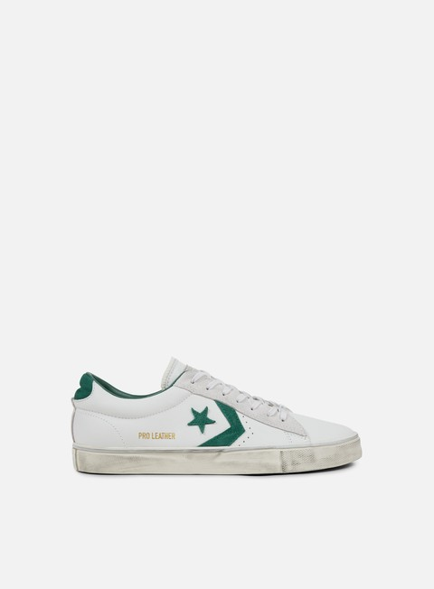 sneakers converse pro leather vulc distressed ox white dust alpine green