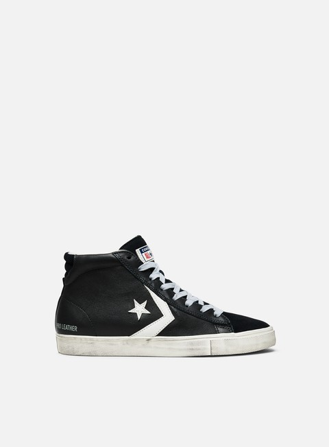 sneakers converse pro leather vulc mid black turtledove light grey